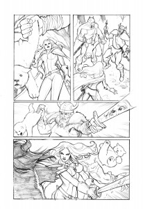 red sonja berserker page 3 pencil low